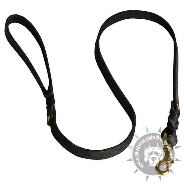 Braided Leather Pitbull Leash for Walking