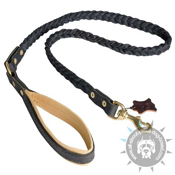 Strong and Comfortable Leather Pitbull Leash with Padded Handle