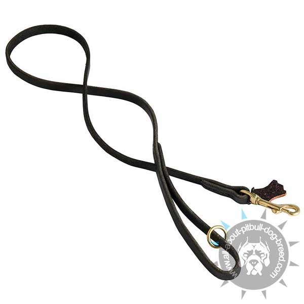 Stitched Leather Pitbull Leash Equipped with Floating Ring