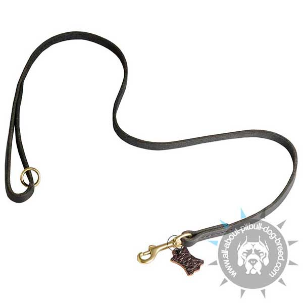 Leather Pitbull Leash with Stitched Handle and Hardware