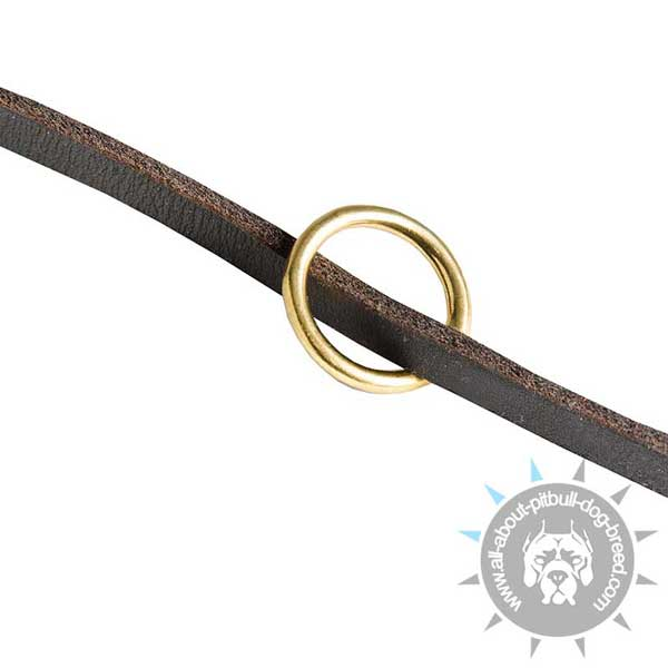 Leather Pitbull Leash Equipped with Strong Floating Ring