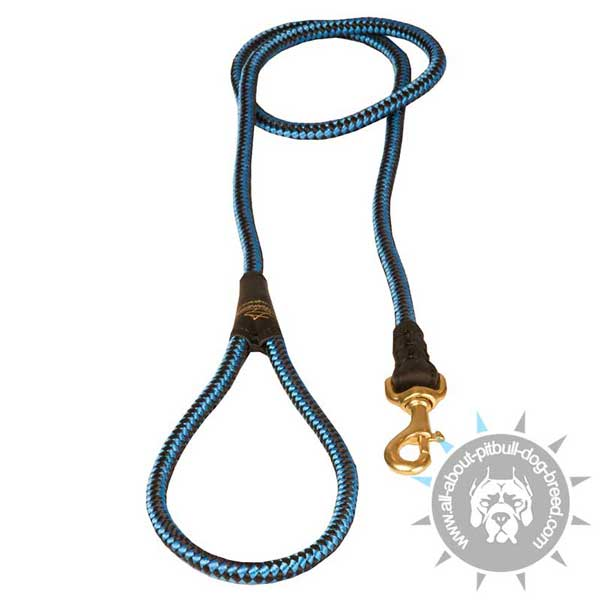 Blue Nylon Cord Pitbull Leash with Brass Snap Hook