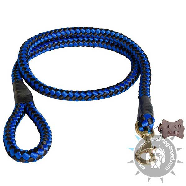 Blue Nylon Cord Pitbull Leash with Strong Handle