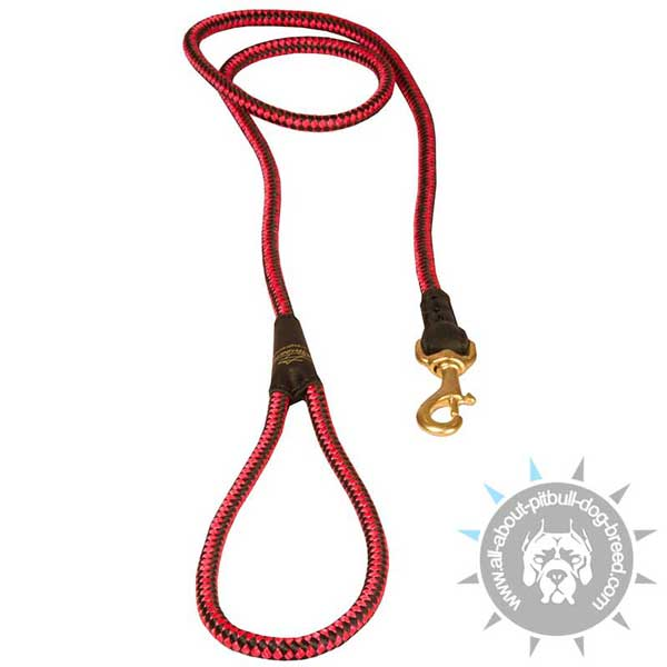 Bright Red Nylon Cord Pitbull Leash with Handle