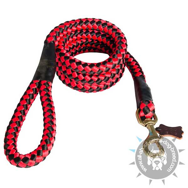 Red Nylon Cord Pitbull Leash with Strong Handle