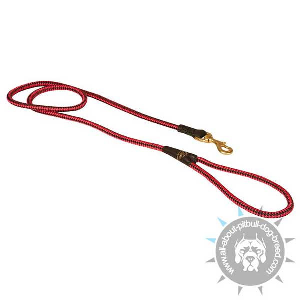 Extra Strong Nylon Cord Pitbull Leash of Red Color