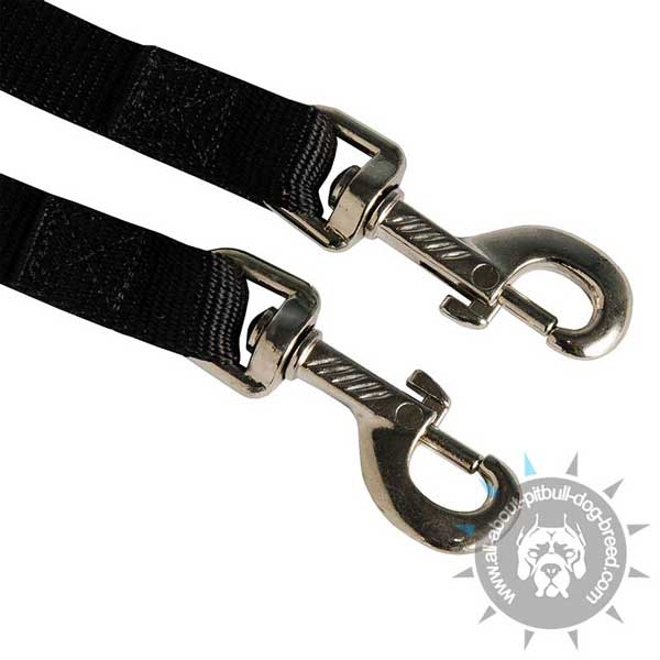 Strong Snap Hooks on Nylon Pitbull Coupler