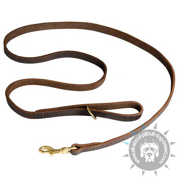 Leather Pitbull Leash with Smooth Surface