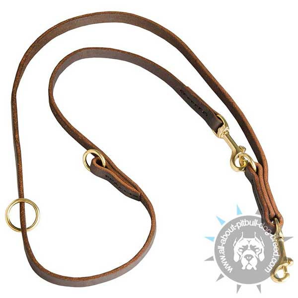 Multipurpose Pitbull Leash Leather   Stitched for Added Strength