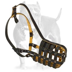 Specially engineered leather dog muzzle for Pit Bull