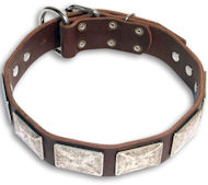 Handmade PITBULL Brown dog collar 18 inch/18'' collar - Best Decorated Collar