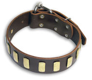 Leather Brown collar 26'' for PITBULL /26 inch dog collar - S33p