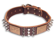 Comfort PITBULL Brown dog collar 18 inch/18'' collar - Hand Crafted Creation