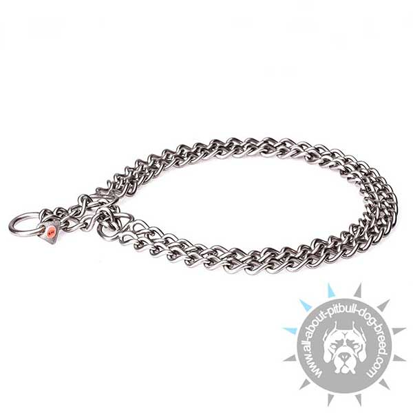 Pitbull HS Chain Collar of Brushed Stainless Steel