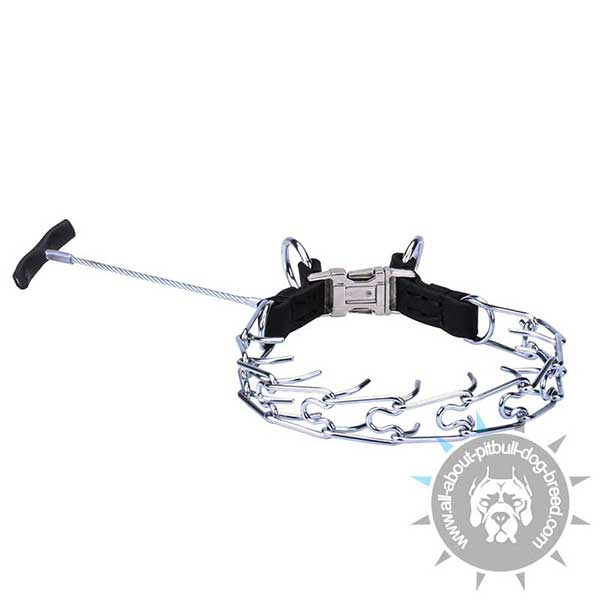 Pitbull Pinch Collar of  Chrome Plated Steel with Handle