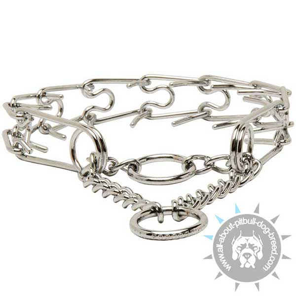 Pitbull Chrome Plated Pinch Collar with O-rings and Martingale Chain