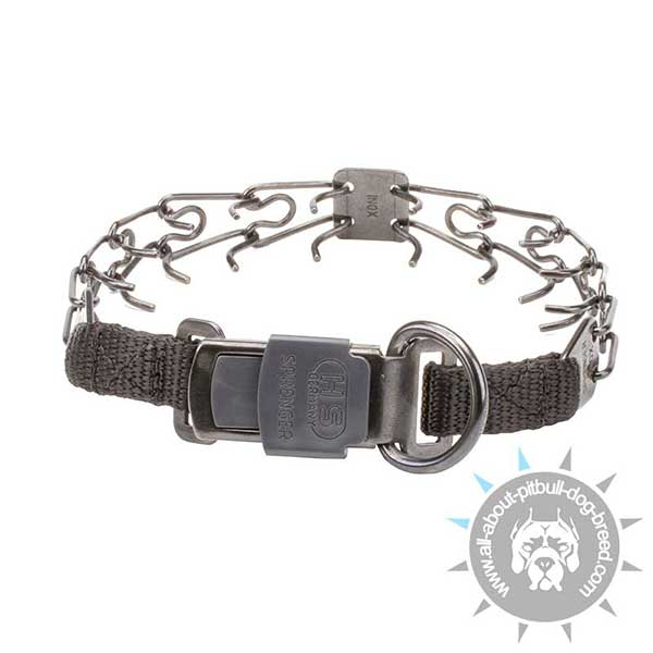 Pitbull Black Pinch Collar with Reliable Buckle