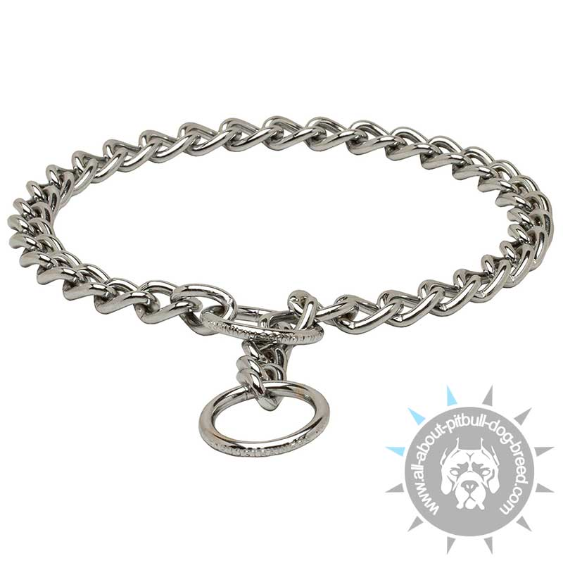 Reliable Chrome Plated Choke Chain For Pitbull Training
