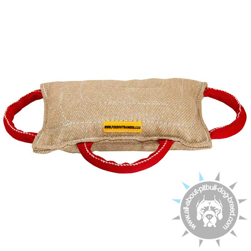 professional jute bite pillow with three handles for pitbull training