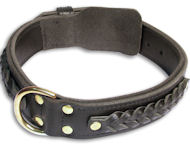 PITBULL Braided Black collar 23'' /23 inch dog collar -C55s33