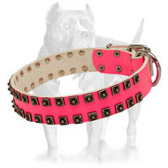"Stunning Design Pink Leather Dog Collar with Studs Set in ""Caterpillar Style"""